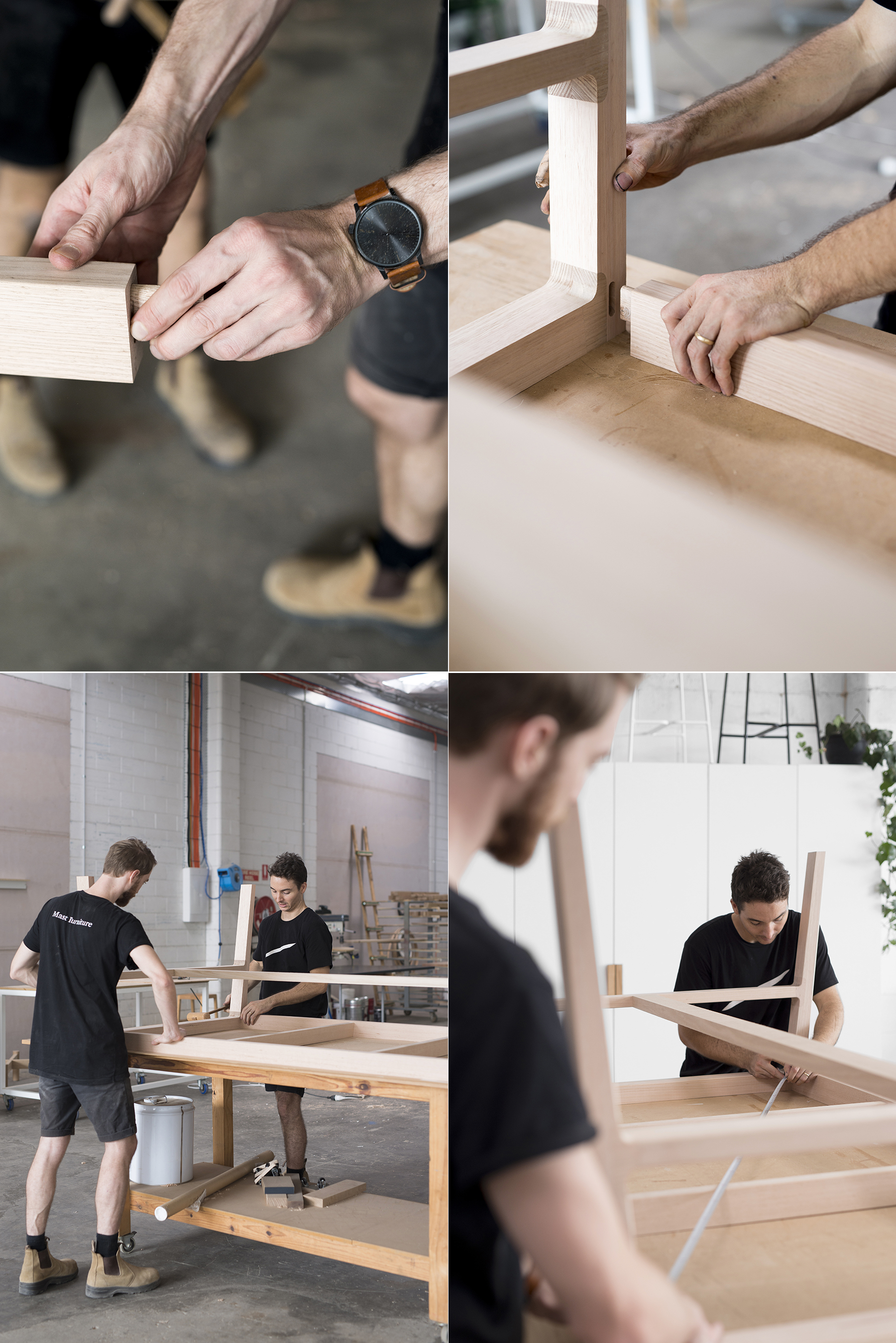 TOP LEFT & RIGHT: The guys fit a tenon into a mortise (the slot the tenon fits into) and then connect the Willox table top frame to the legs. Woodworkers around the world have used mortise and tenon joints for thousands of years to provide structural integrity within furniture.