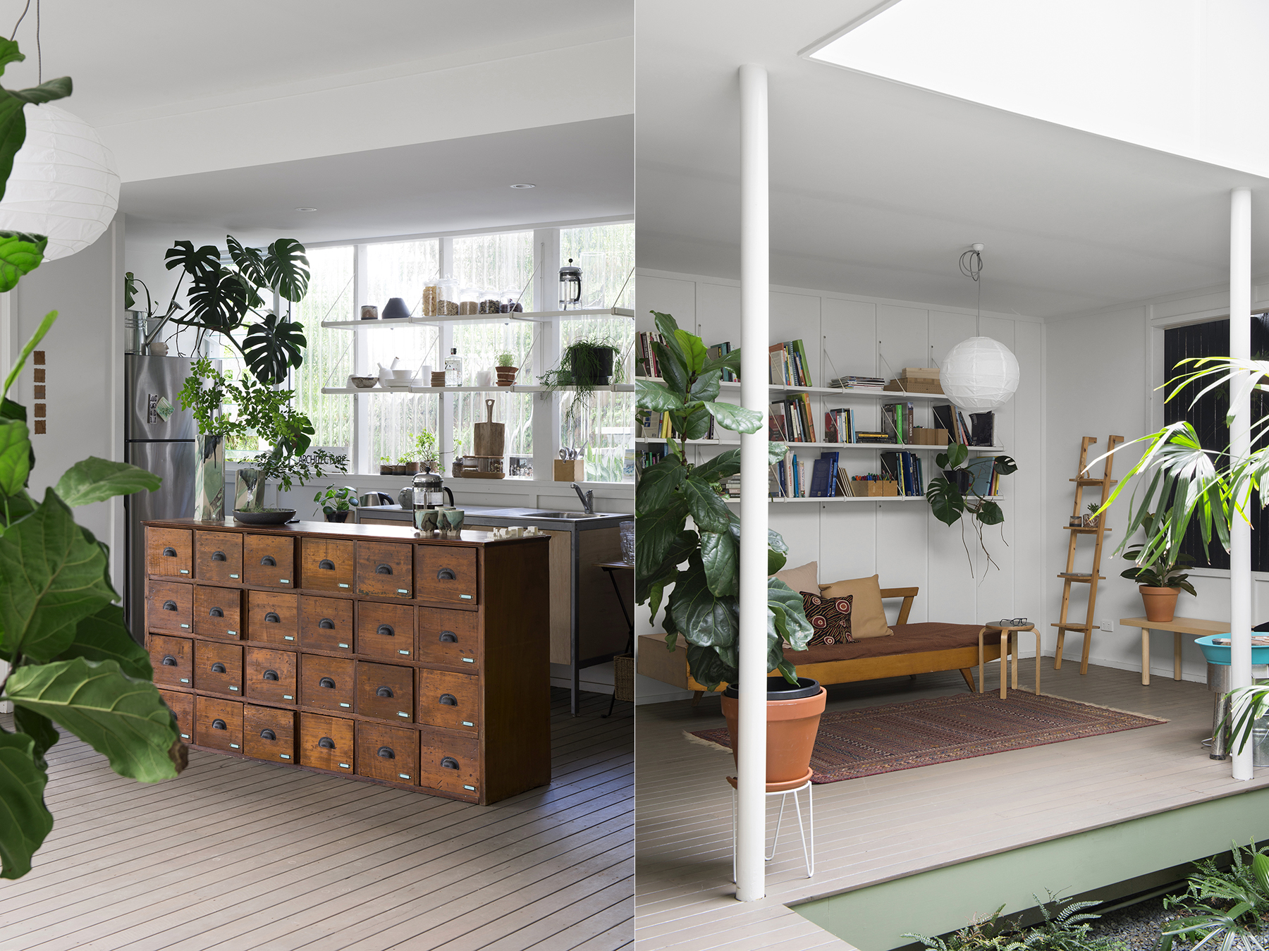 LEFT: The kitchen replete with vintage timber filing drawers repurposed as a kitchen island. RIGHT: The library and daybed area, perfect for a cuppa, a chat, or some reading. Suzie also sometimes uses it as a throwing area as she is a budding potter as well.
