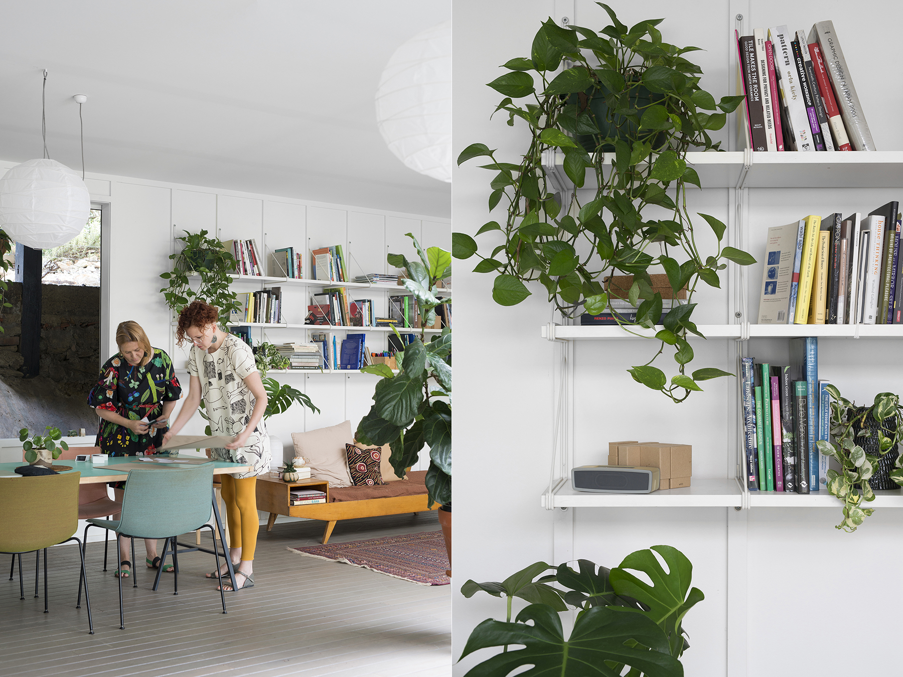LEFT: Laura and Suzie in planning mode. RIGHT: Garden studio details.