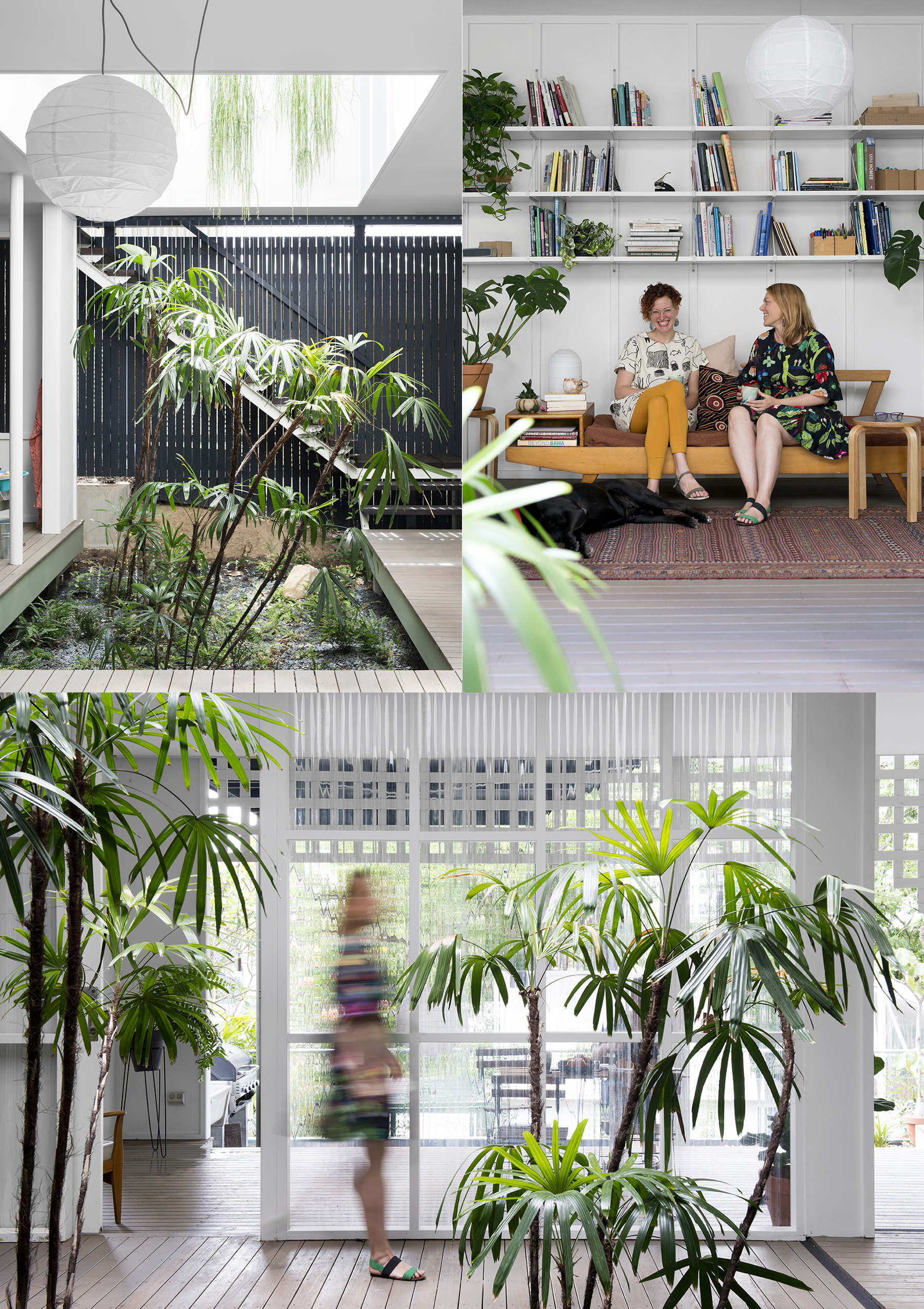 TOP LEFT: Hello sunshine! The atrium allows the plants to flourish. TOP RIGHT: Laura and Suzie talk about their upcoming workshop over a cuppa. BOTTOM: Suzie traverses the entryway heading toward the kitchen. Sliding doors open onto an extended balcony with additional table and seating options enabling them to spread out when hosting larger groups.