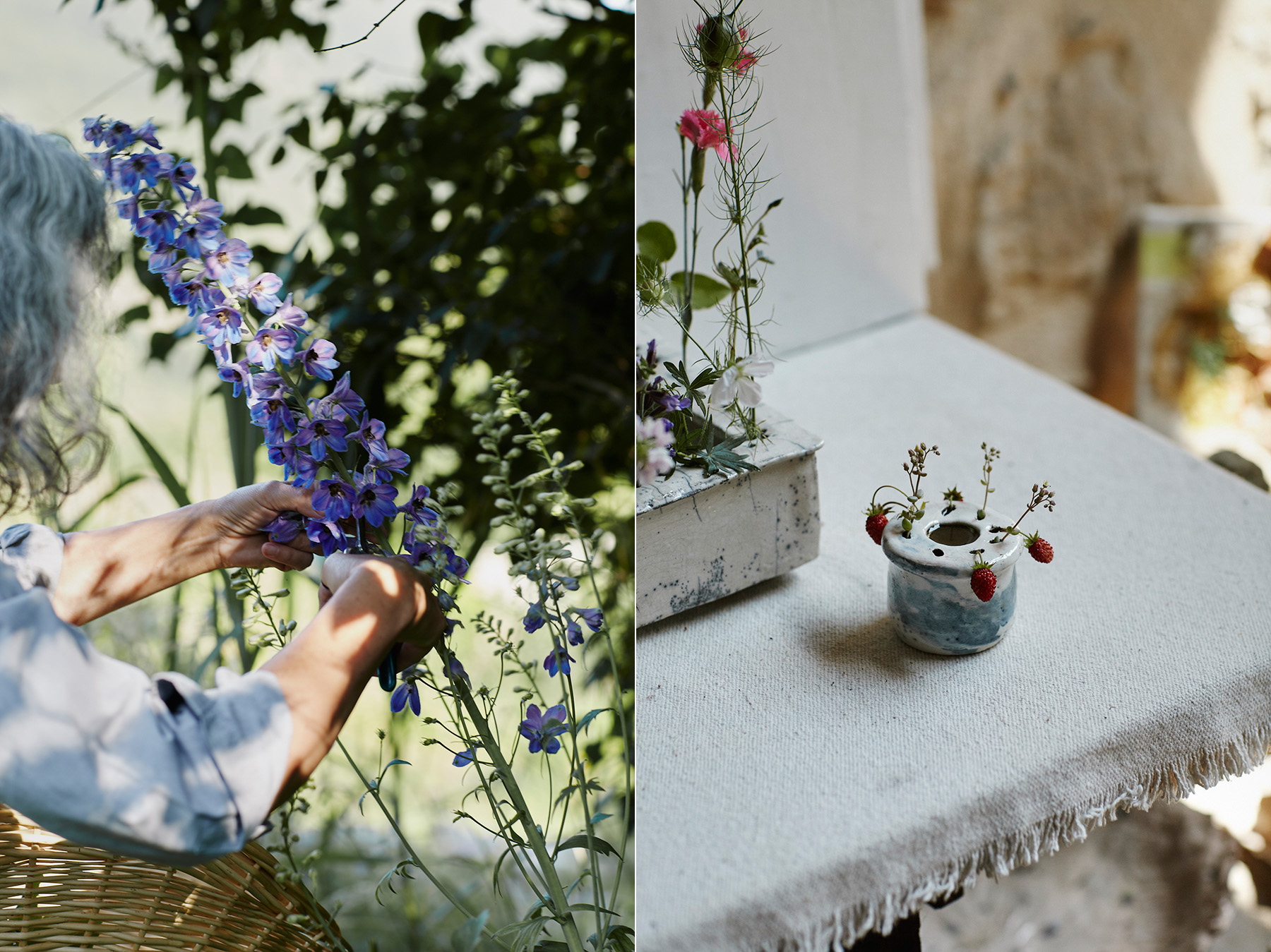 LEFT: Cécile gathering tiny flowers from her garden. RIGHT: One of her  Pique-Fleurs.