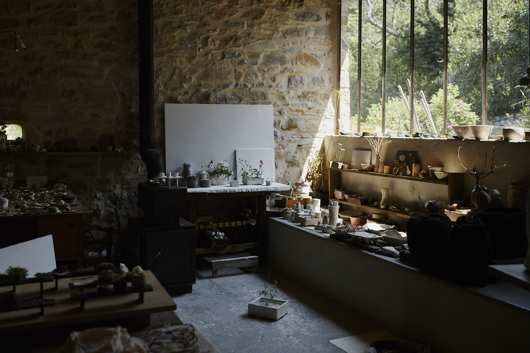 Morning light entering the atelier, which exhibits many of Cécile's works.