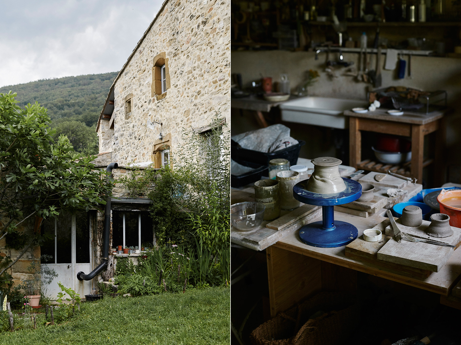LEFT: Exterior of the atelier, south elevation. RIGHT: Interior of the atelier, working with clay.