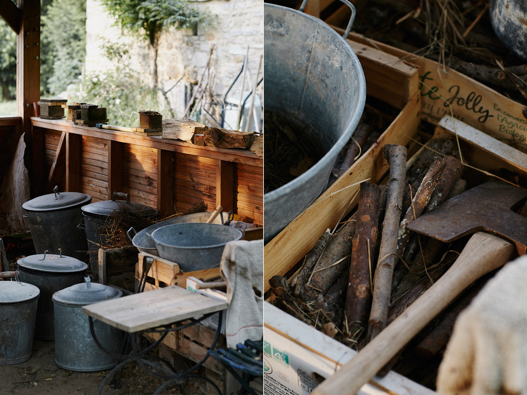 LEFT: The incandescent ceramics are 'smoked' in these metal receptacles with dried herbs and flowers from the garden. RIGHT: Detail of wood used to fuel the kiln.