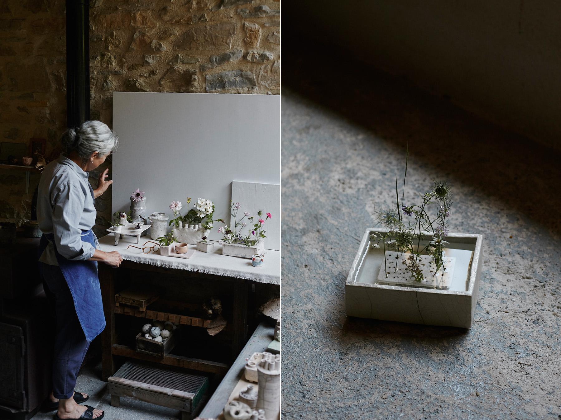 LEFT: Cécile arranges flowers from the garden in her vases. RIGHT:  Pique-Fleurs en bassin .