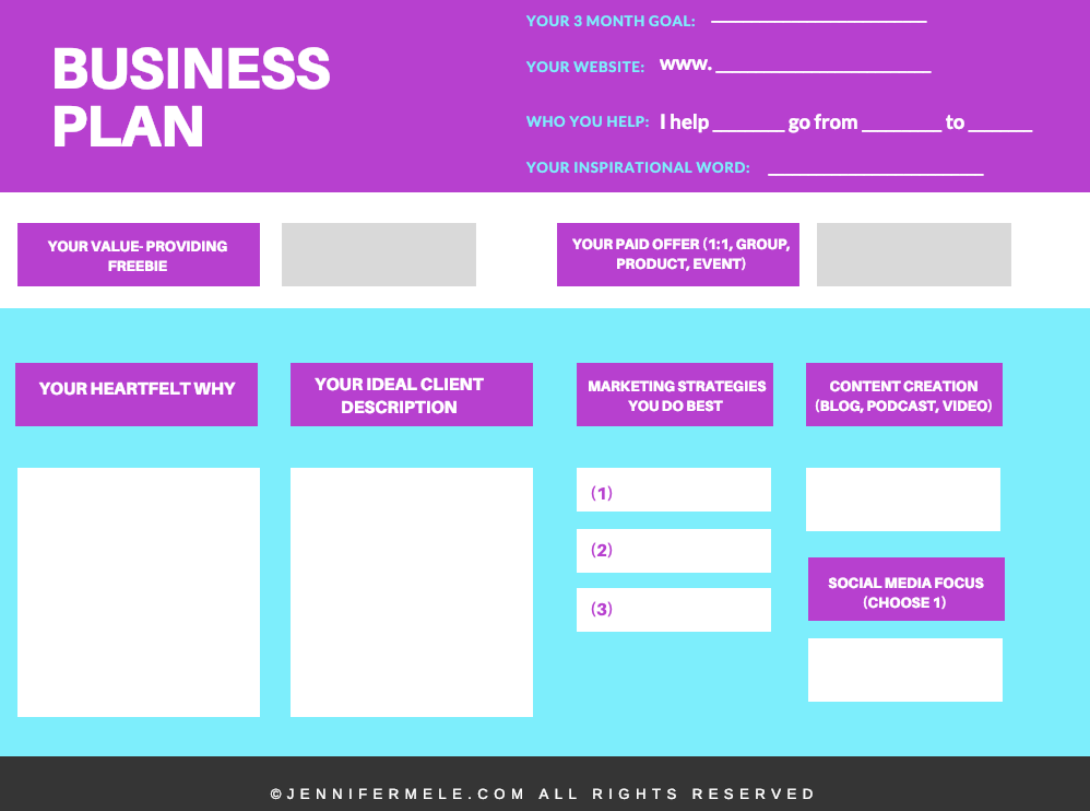 Fill out your business plan along with this article! - Grab Your 2019 Business Plan template in my: