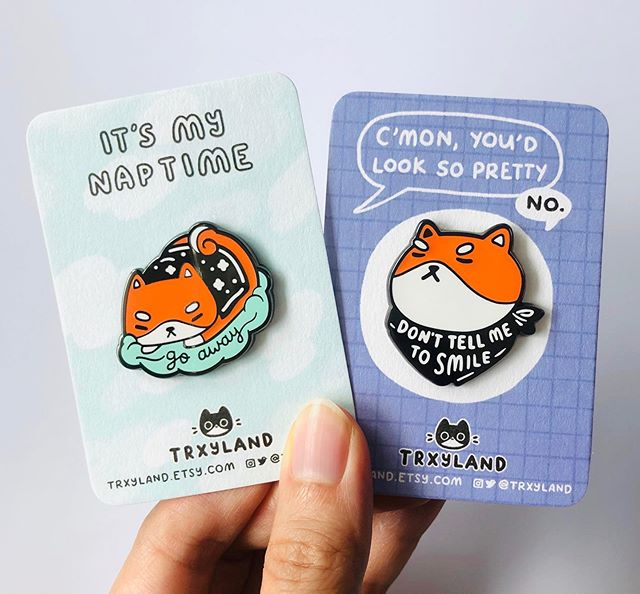 Grumpy shiba pups are here to say, it's okay not to smile if you don't want to!  . . . #cutepins #enamelpins #pingamestrong #pincollector #shibalovers #shibainupuppy #cuteart #selfcaresundays #trxyland