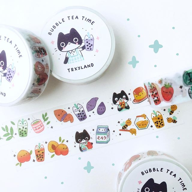 Happy weekend! I've been working on some new bubble tea merch that I can't wait to share with you guys! 👀  . . . #washitape #washitapes #illustration #cuteart #bujo #bujoideas #plannerstickers #scrapbooking #bubbletea #bobatea #bubbletealover