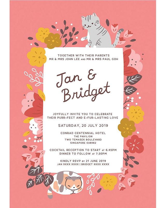 So happy that I can finally share these wedding invites I designed & illustrated for this lovely couple! I love how they used these invites to make their pets a part of their special day🐱🌸 ⁣ ⁣ Commissions are now open for weddings in Dec 2019 and beyond. Fun, cute or silly illo ideas are welcome, the quirkier the better! Email me for more info: trxydesigns[at]gmail.com✨⁣ .⁣ .⁣ .⁣ #illustratorsoninstagram #artlicensing #weddinginvites #weddingstationary #florals #procreateapp #digitalart #weddingdesigner #trxyland