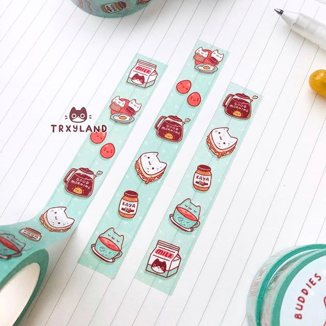 Happy #washiwednesday ☕️⁣ .⁣ .⁣ .⁣ #washitape #singaporefood #singapore #sgfoodie #bujodaily #washi #plannersupplies #planneraddicts #trxyland