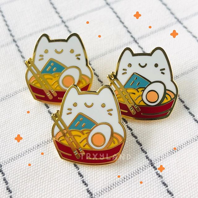 So happy with how these ramen boys turned out! I'll be updating my shop with all the new pins next Saturday, 17 Aug at 9PM EST 🍜✨‬ More preview pics coming in the next few days! ⁣ .⁣ .⁣ .⁣ #enamelpins #enamelpin #pingamestrong #cutepins #ramen #pincollector #pincommunity #cuteart #trxyland