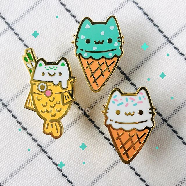 Ice cream cuties🍦I'm so excited to launch these and hope you'll like them too! Shop update coming this Saturday Aug 17 at 9PM EST✨⁣ .⁣ .⁣ .⁣ #enamelpins #enamelpin #pingamestrong #cutepins #taiyakinyc #taiyakiicecream #taiyaki #icecream #sprinkles #pincollector #pincommunity #trxyland