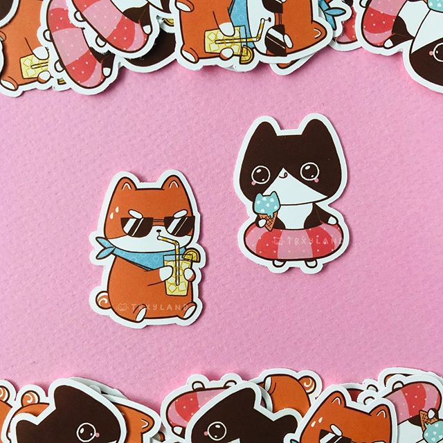 These are the freebie mini stickers that will be going out with all shop orders, til I run out 🍦🏖⁣ ⁣ Also, all non-update items are 10% off, til this Sat! ☀️⁣ ⁣ ⁣ #summer #beach #stickers #stickershop #stickerart #cutestickers #shibagram #shibainu #tuxedocat #cuteart #procreate #procreateapp #trxyland
