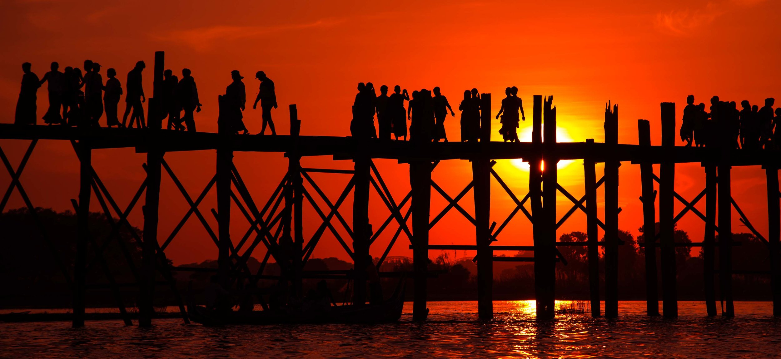 Sunset at the U Bein Bridge. Mandalay, Mayanmar 2015