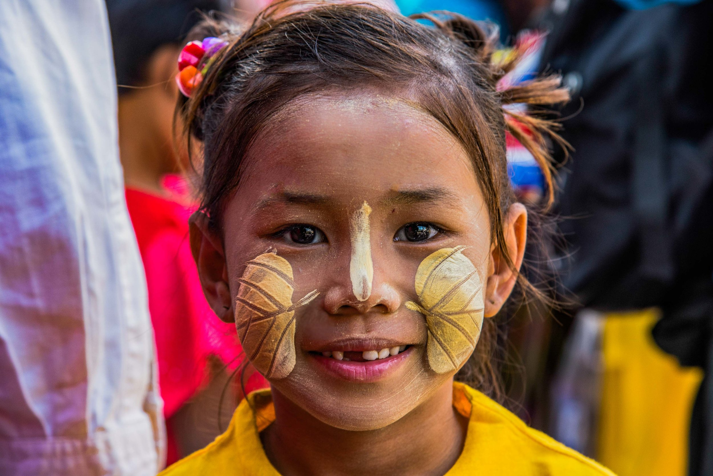 Thanakha Face Paint. Mandalay, Myanmar 2015
