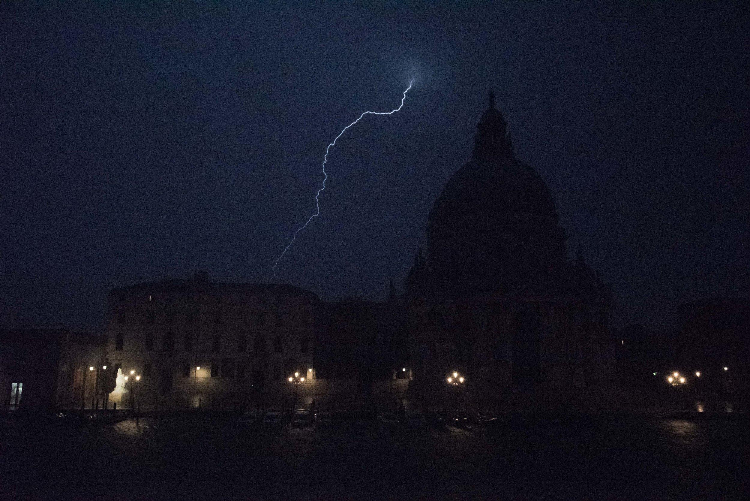 Lightning Strike. Basilica di Santa Maria della Salute, Venice,