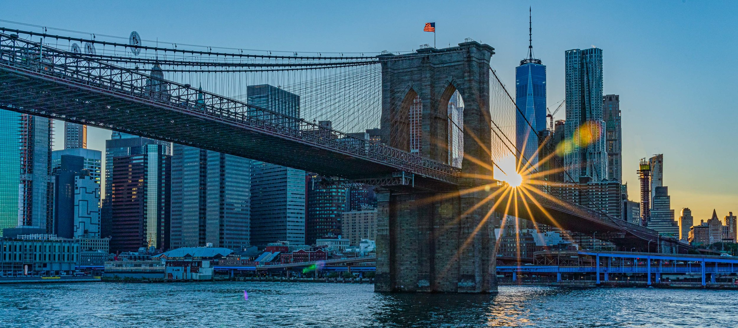 Brooklyn Bridge and Freedom Tower Sunset 2019