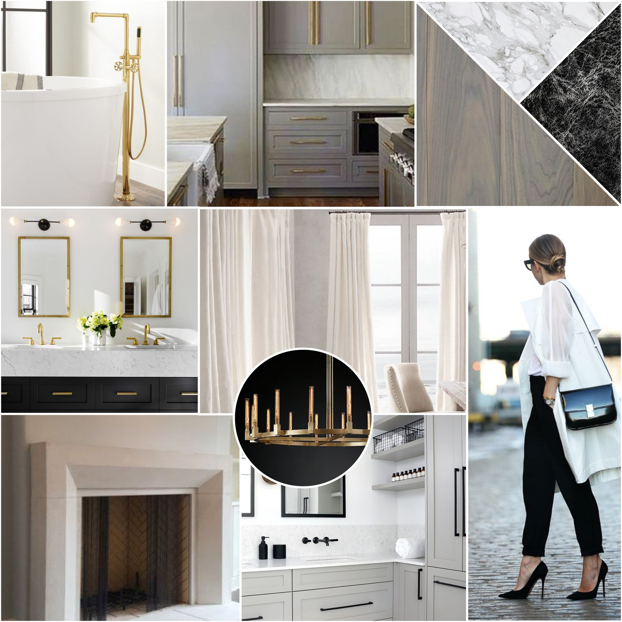Before we got started with the design, we created a moodboard to convey the aesthetic we were aiming for to make sure our client was happy with the direction we were heading in. This client responded really well to warm neutrals and clean white and gray images contrasted with black and brass metals.
