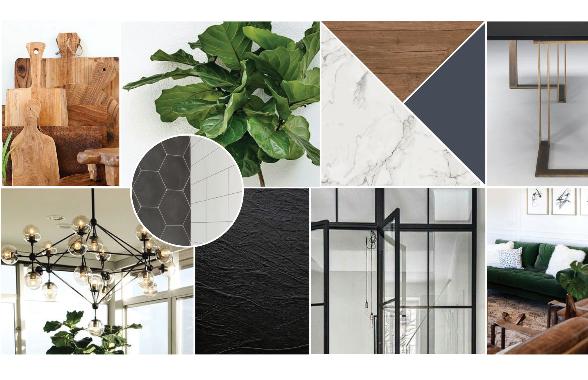 We always start each project with a moodboard to communicate the vision for the design before we get started. For this particular design, we pulled in rich accents with navy cabinets, black metal trim and marble textures throughout. We wanted this apartment to be modern yet warm and inviting which we achieved with sleek profiles and warm, textural materials.