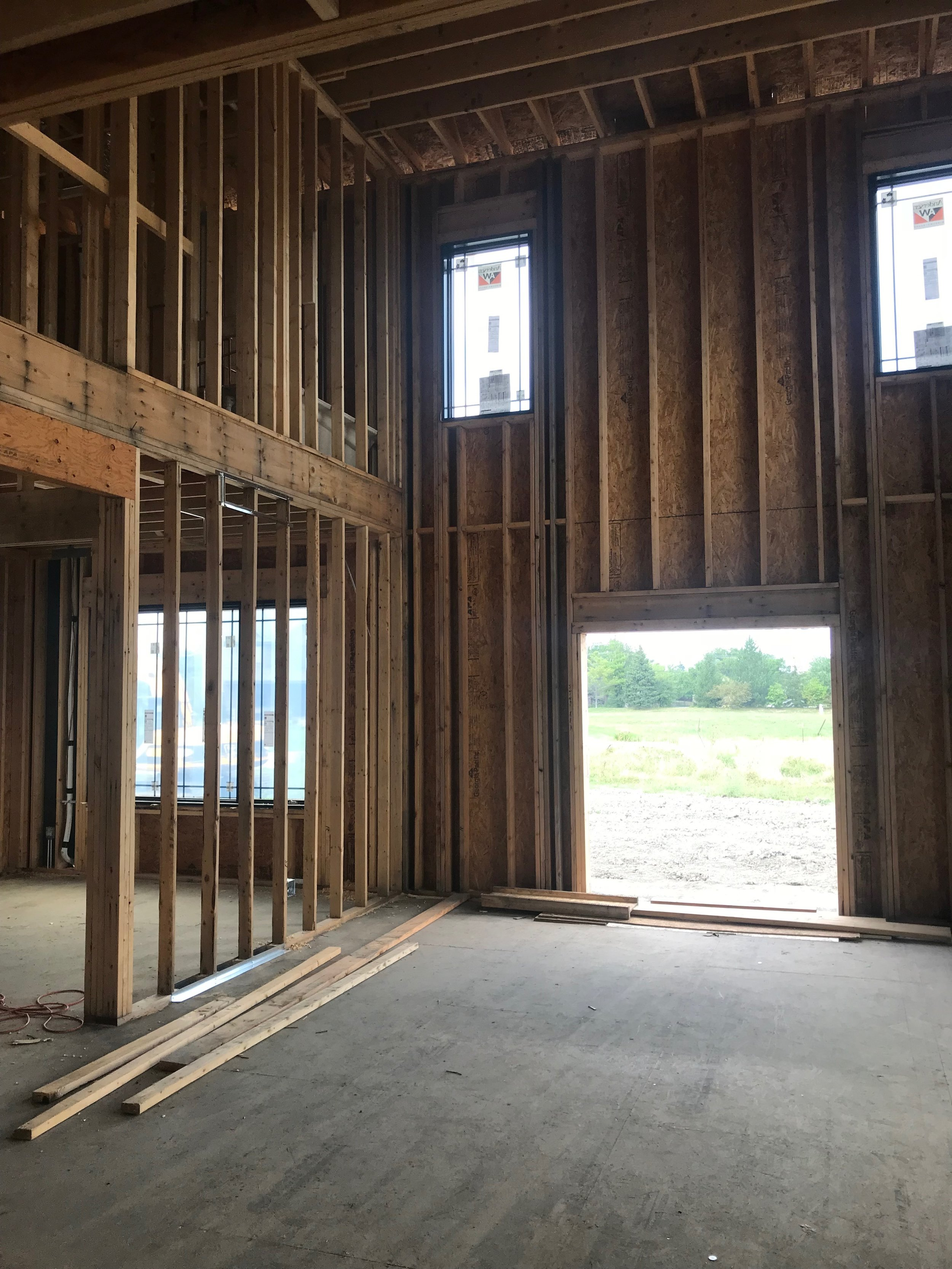 Framing of double-height living room