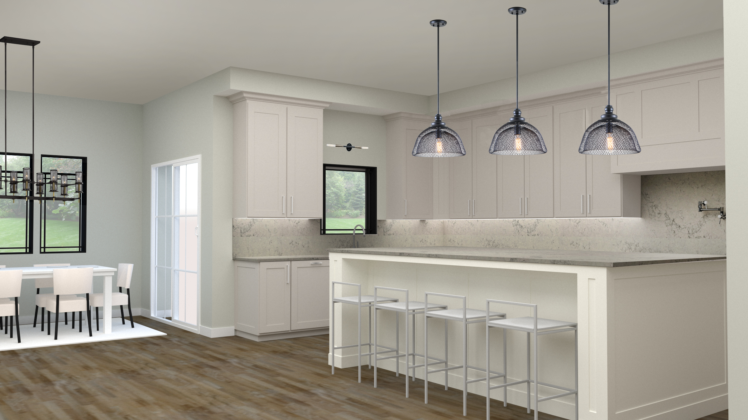 The kitchen rendering shows neutral, shaker style cabinets with a huge island and quartz countertops carrying up the backsplash