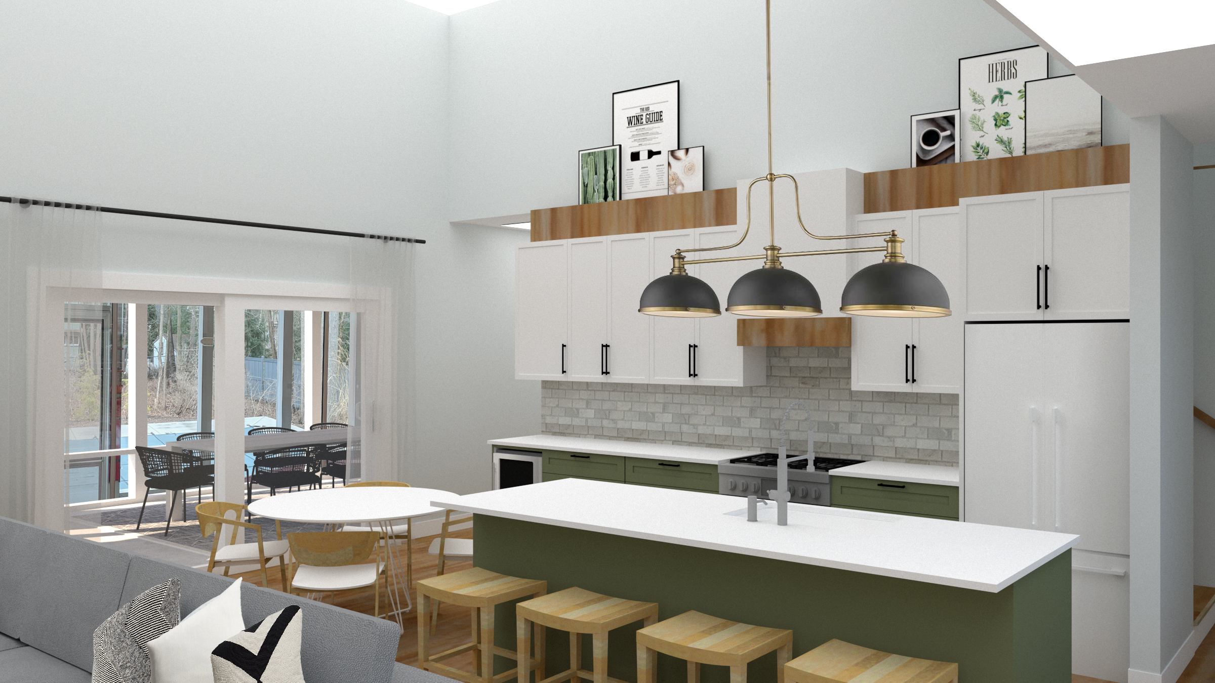 Green accents and warm pops of wood were introduced to bring the kitchen to life!