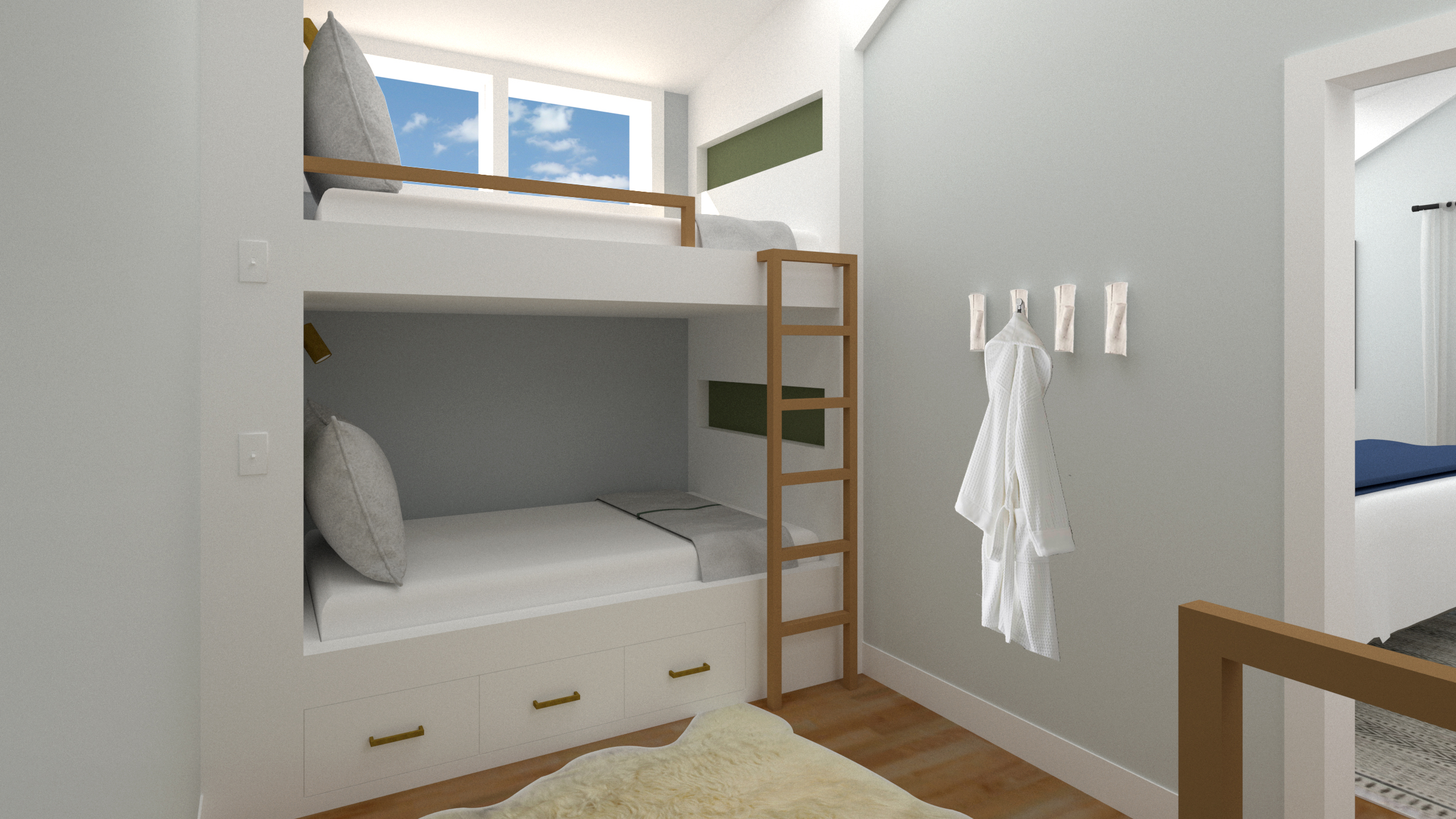Custom twin bunks fit the space perfectly! We incorporated the same wood tones from downstairs and pops of the same sage green to keep things cohesive.