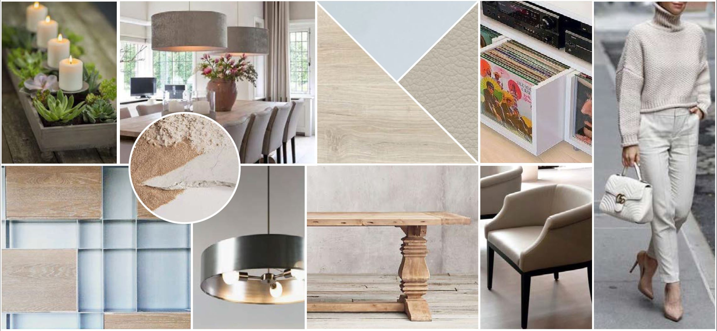 We reflected this in the moodboard we created with light oak wood tones, warm neutrals and interesting yet subtle geometric patterns.