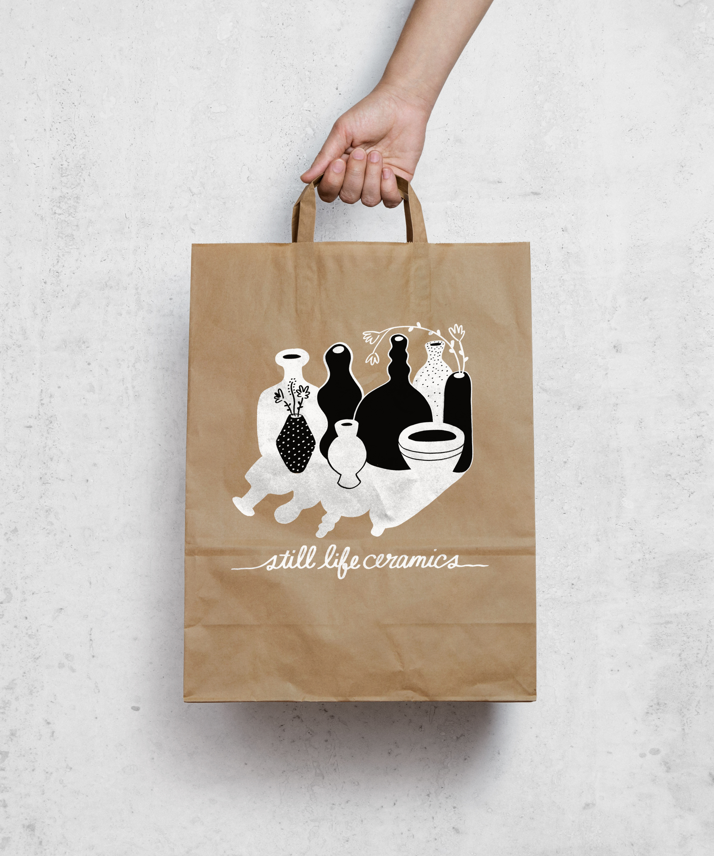 shopping bag concept for Still Life Ceramics