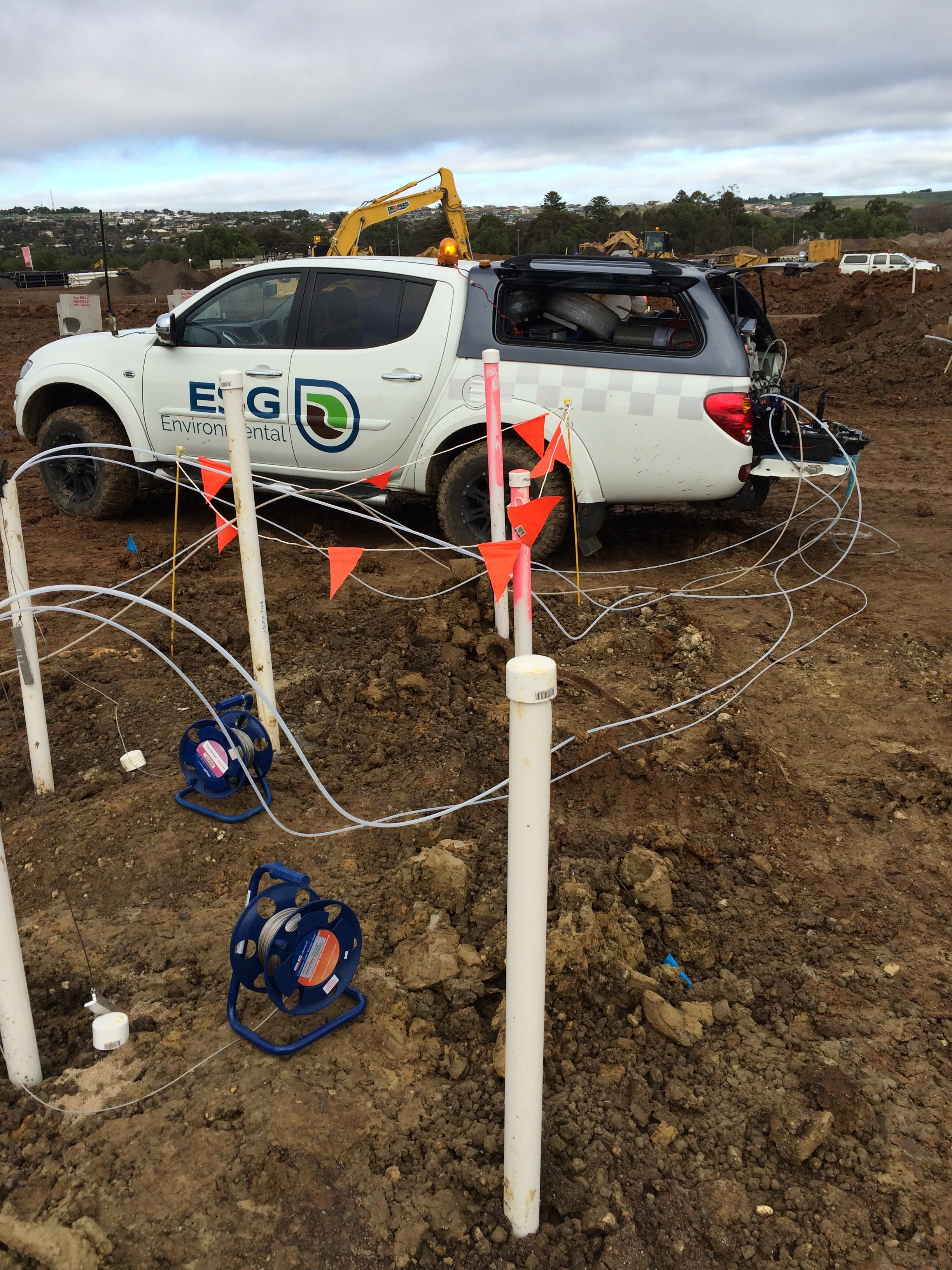 ESG Environmental team at a groundwater, surface water and soil job.