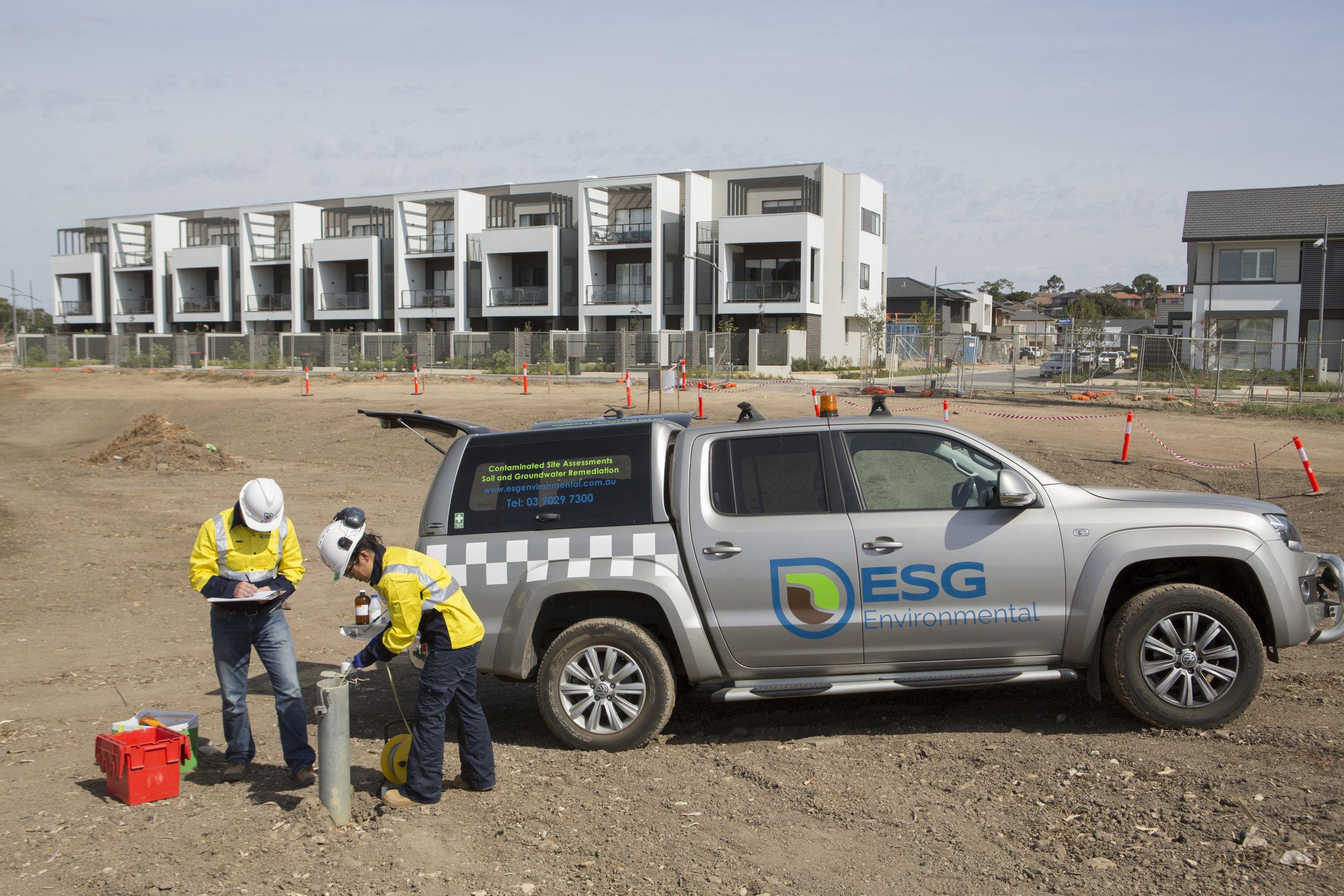 The ESG Environmental team on site at an environmental site investigation.