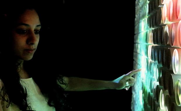 Priyanka Patel interacts with the installation2