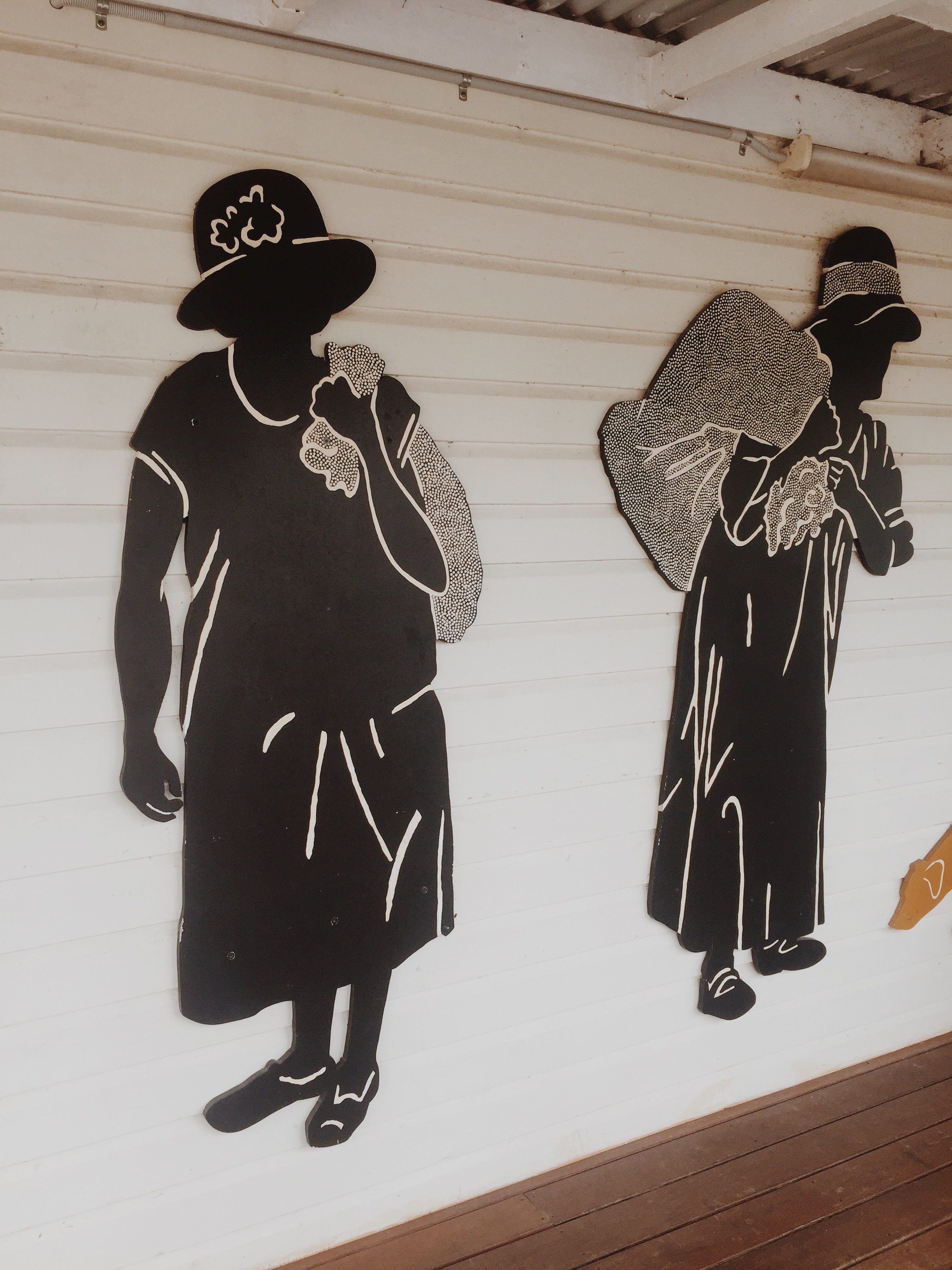 Image of Indigenous women at the Rationshed Museum in Cherbourg, Queensland, Australia where we will be starting our production studio