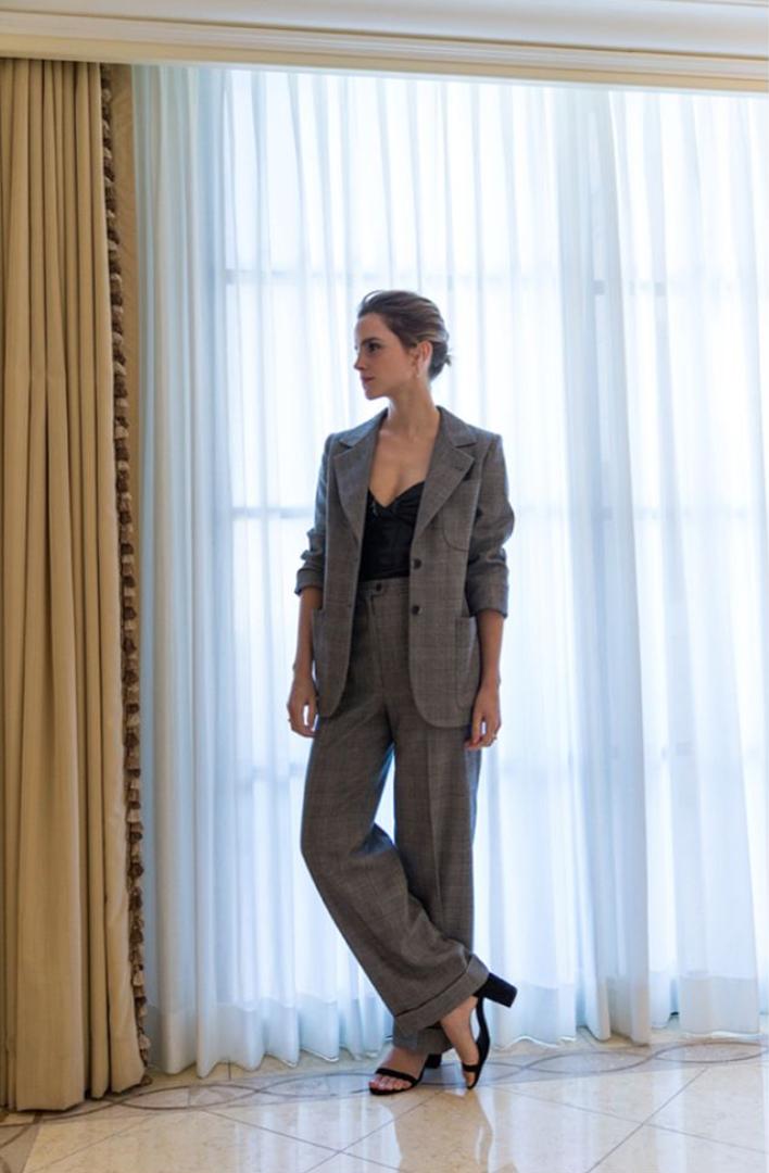 Emma Watson in Vintage YSL. Courtesy of The Press Tour Instagram