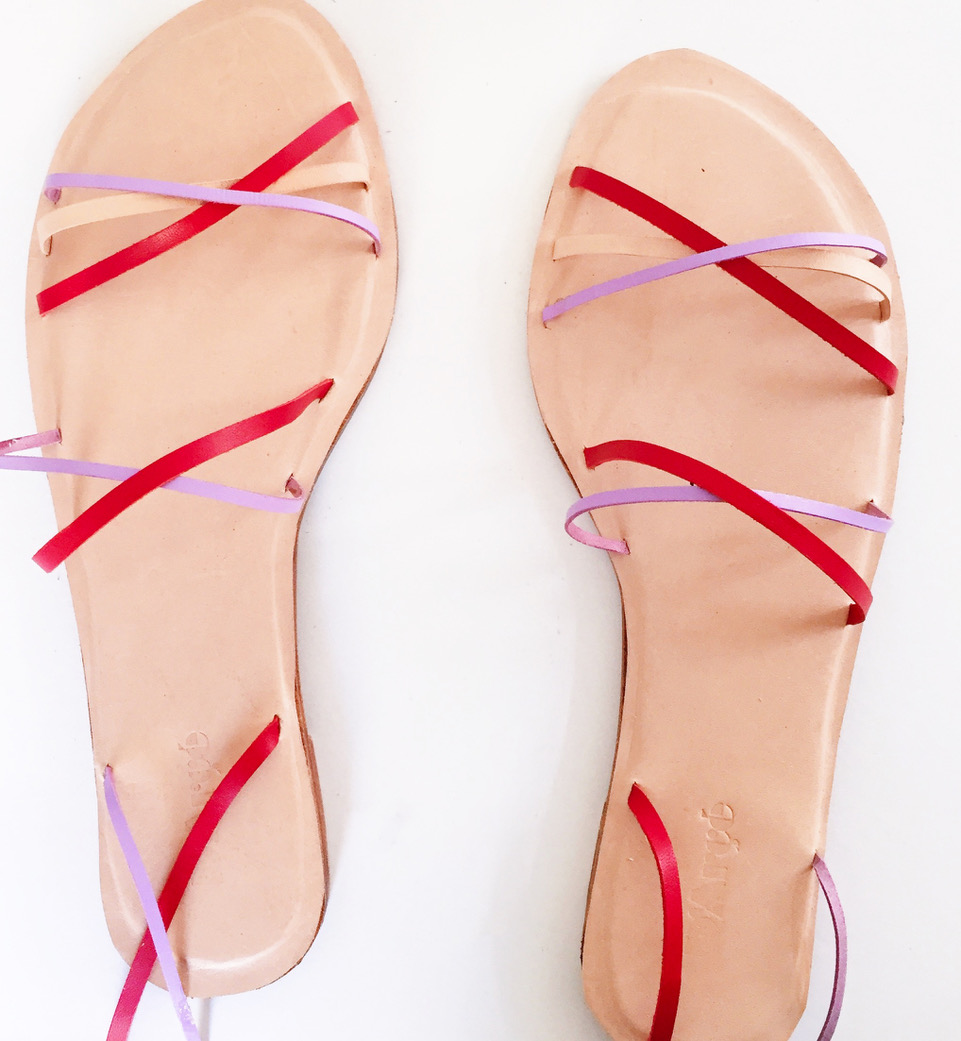 Kempner strappy sandals in lilac and red