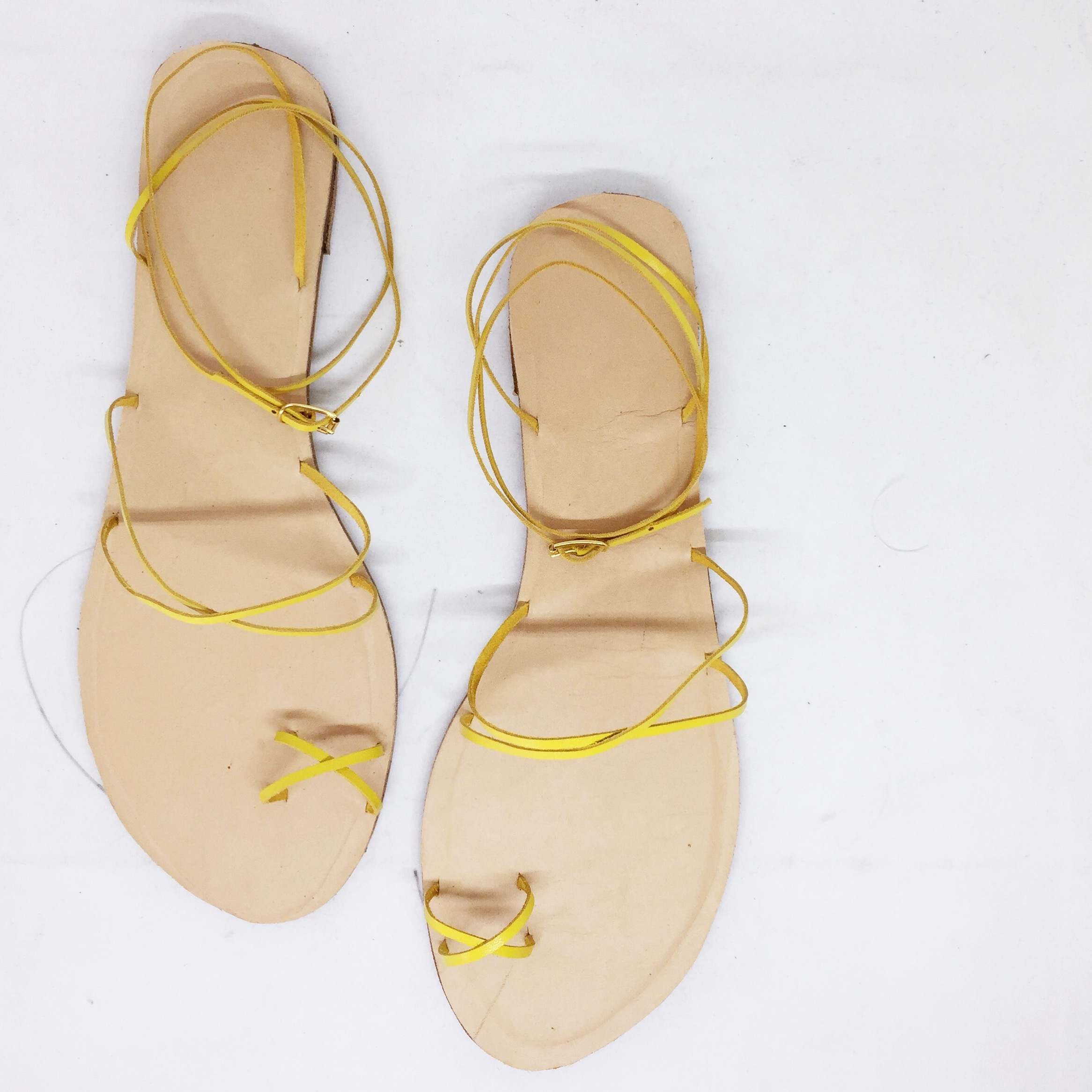 Notts sunshine yellow bare strappy sandals.JPG