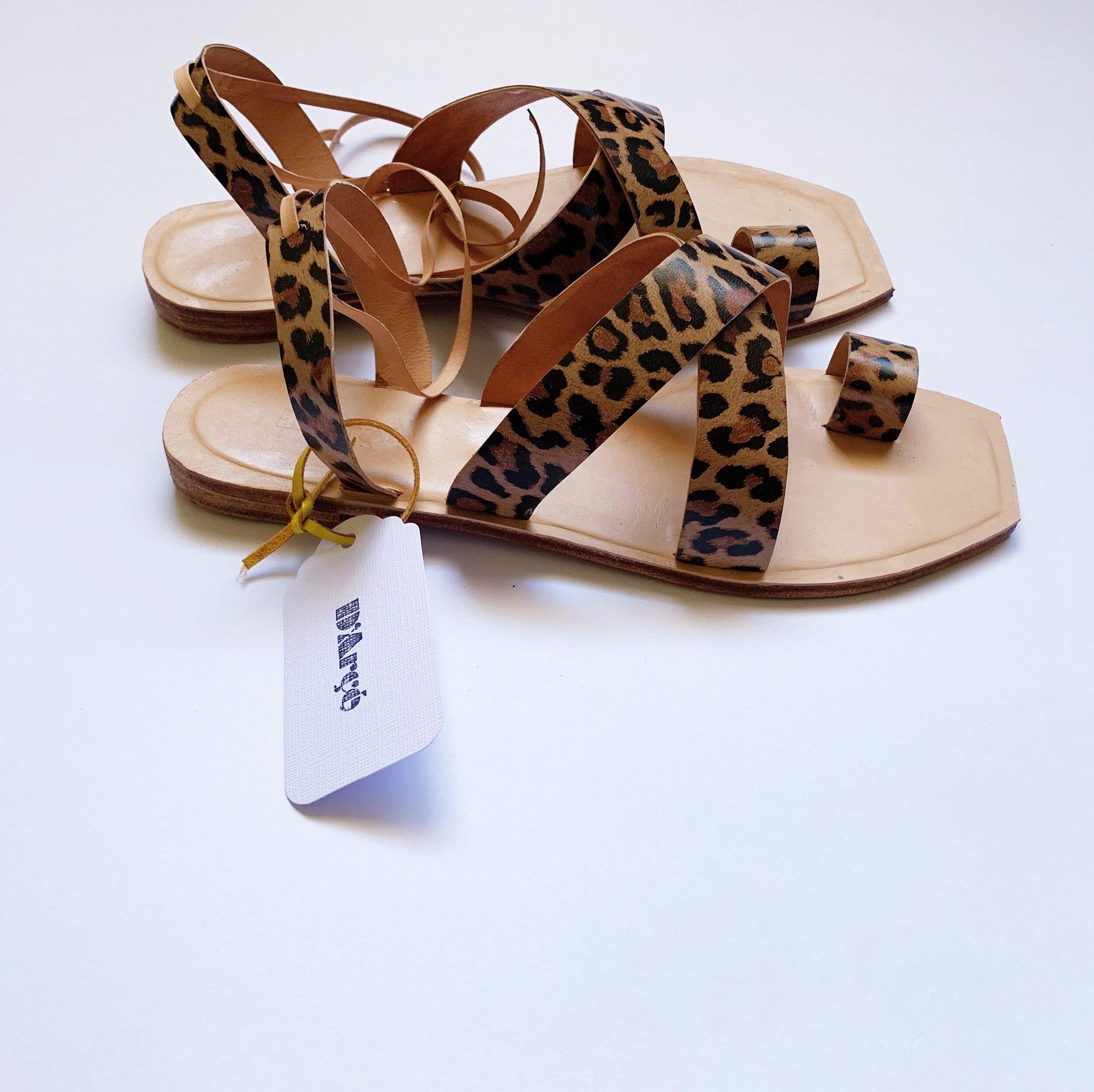 Leopard Print Story leather women's sandals