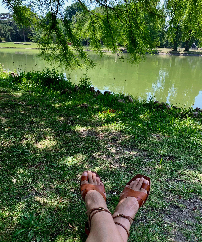 Story Leather Sandals at Bois des Vincennes, Paris