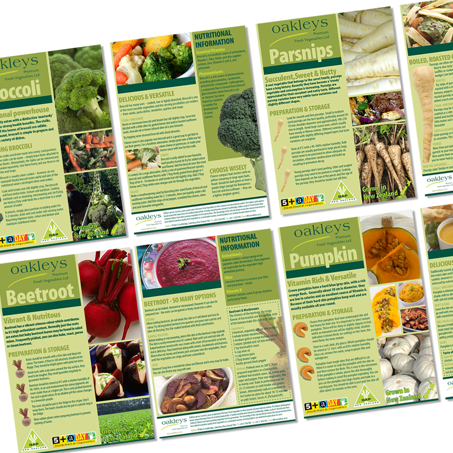 PRODUCT FLYERS DESIGNED FOR OAKLEYS PREMIUM FRESH VEGETABLES