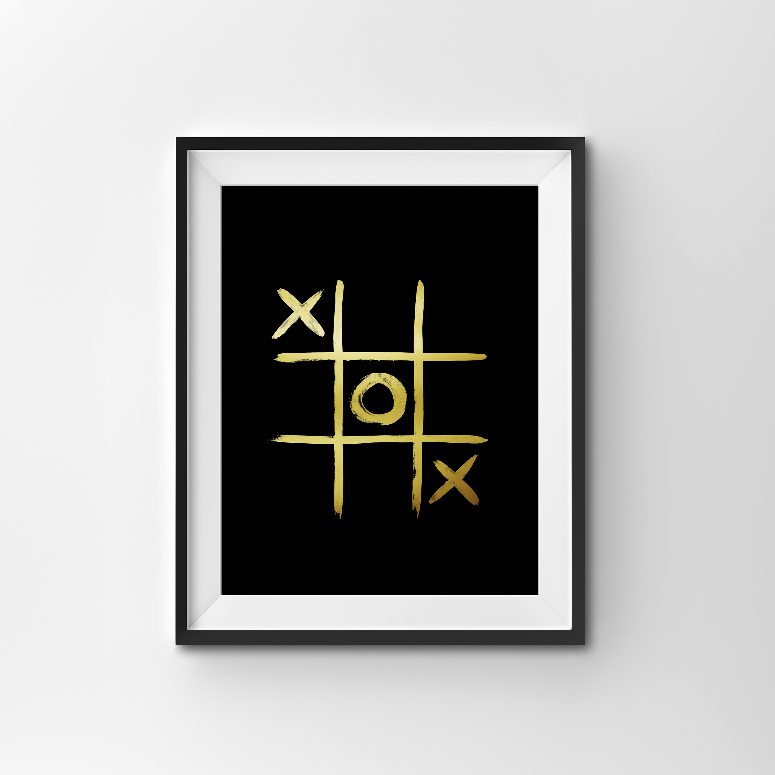 NOUGHTS & CROSSES   BLACK PRINT WITH GOLD FOIL PRINTED ON 300gsm TEXTURED CARD STOCK   A4 $25.00   A3 $35.00