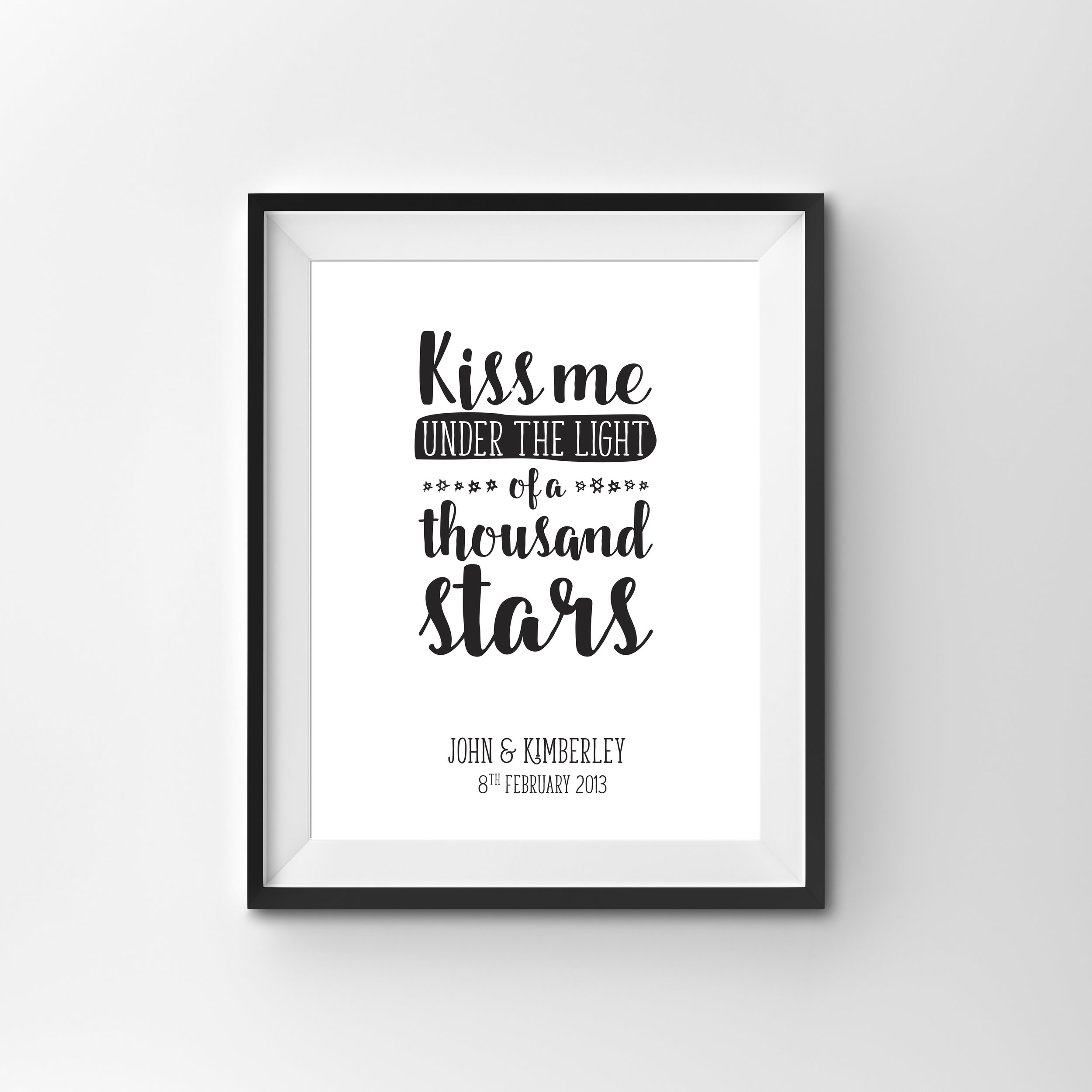 'OUR SONG' PRINT  BLACK & WHITE PRINT, 250gsm CARD STOCK  A4 $45  A song lyric or quote in flowing script font personalised with a couple's name and significant date
