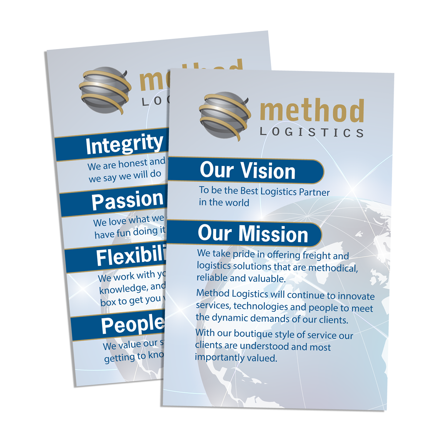 COMPANY MISSION POSTERS FOR METHOD LOGISTICS