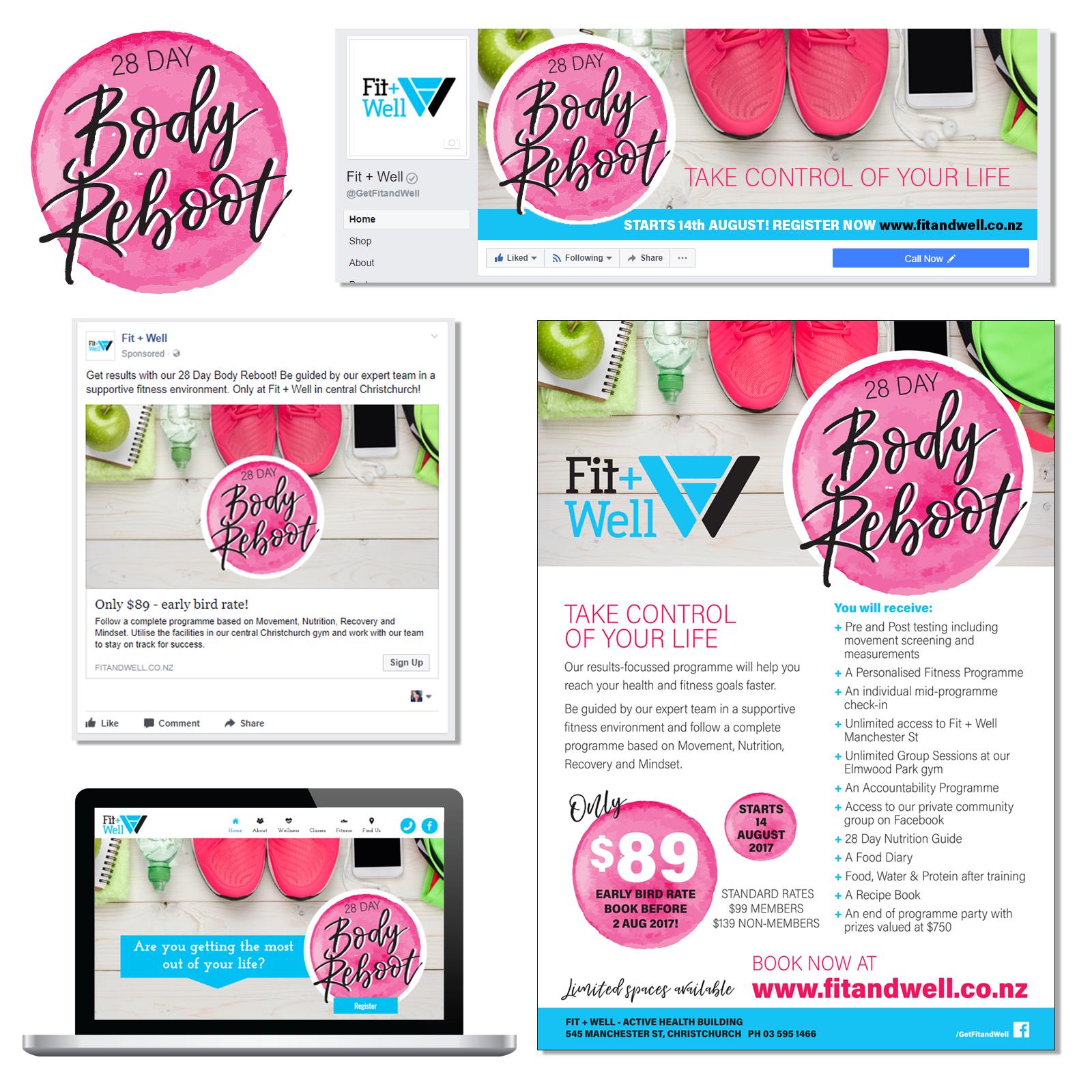 28 DAY BODY REBOOT CAMPAIGN GRAPHIC DESIGN FOR SOCIAL MEDIA, WEB & PRINT
