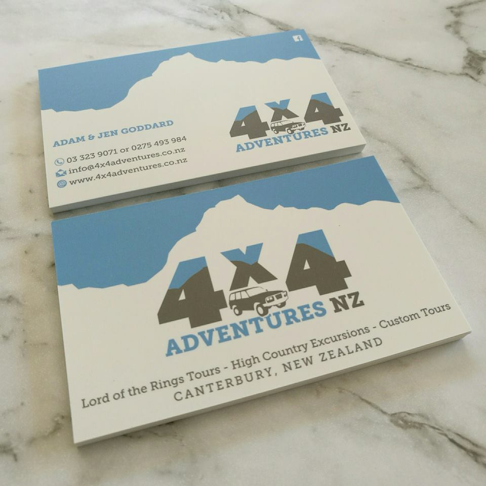 Logo design and business card design for 4x4 Adventures NZ Ltd