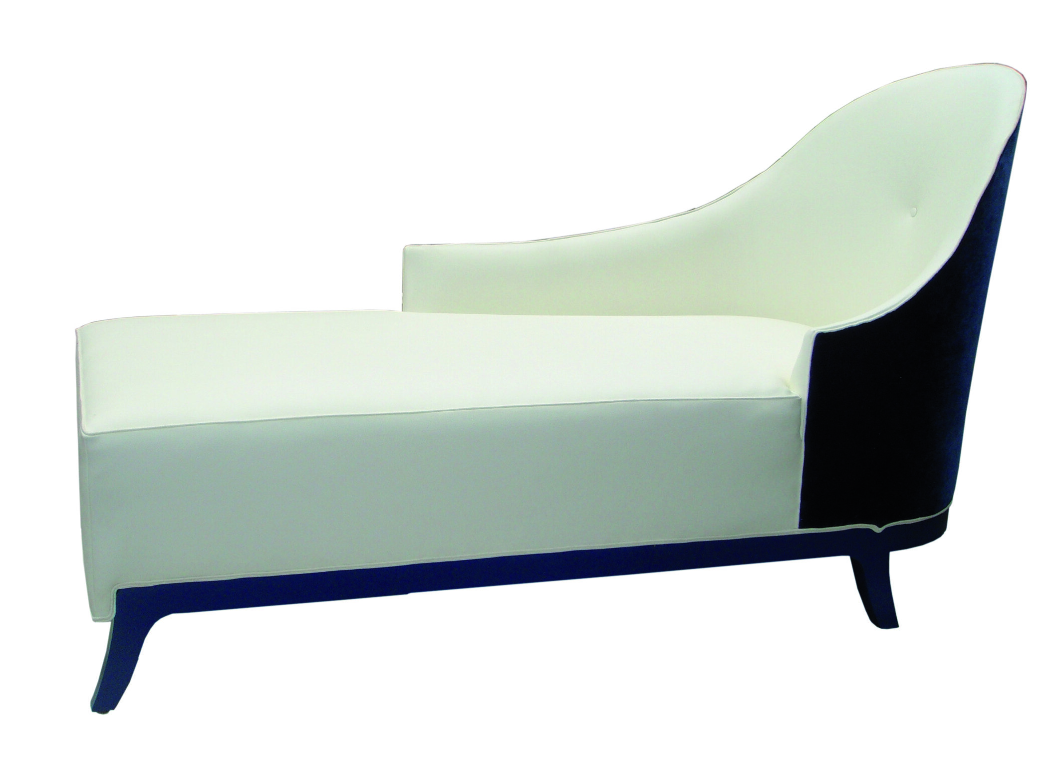 We created a pair of chic day beds with long and short arms and subtle detailed showwood rail.