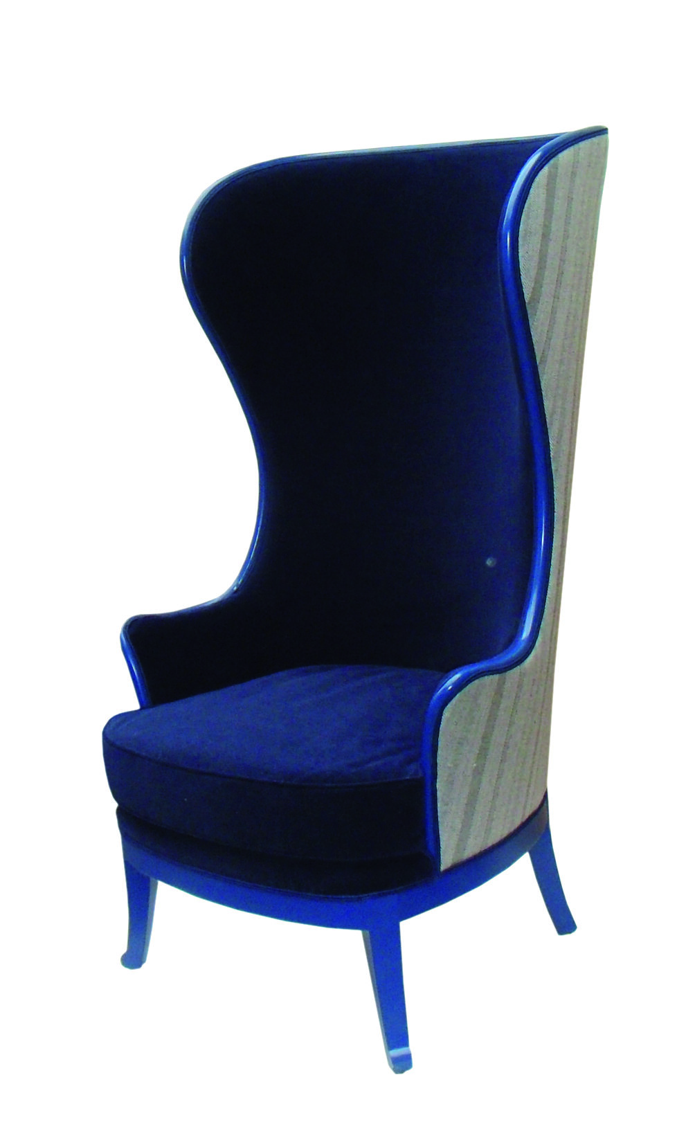 This very high backed chair is an unusual take on a wing chair, with flowing curved arms.