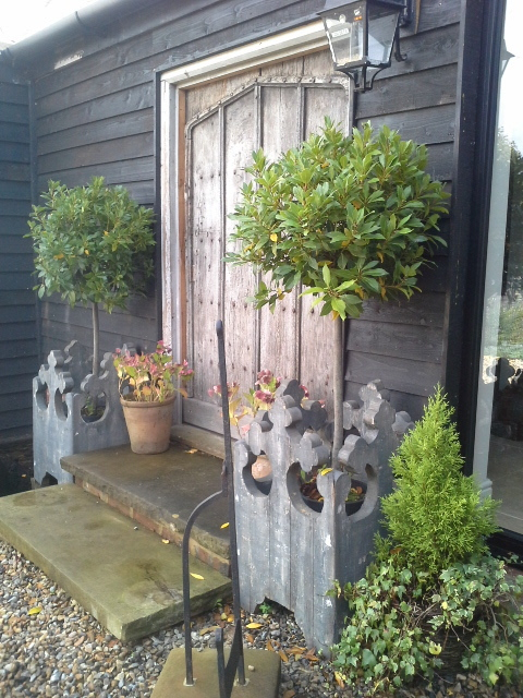 Pair of gothic style planters made to order from antique timber £595 pair