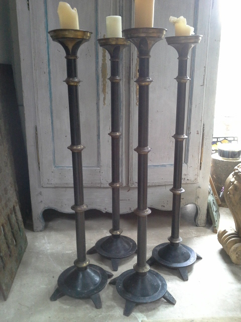 Exceptional set of four 19th Century church altar candle sticks. £1,950.