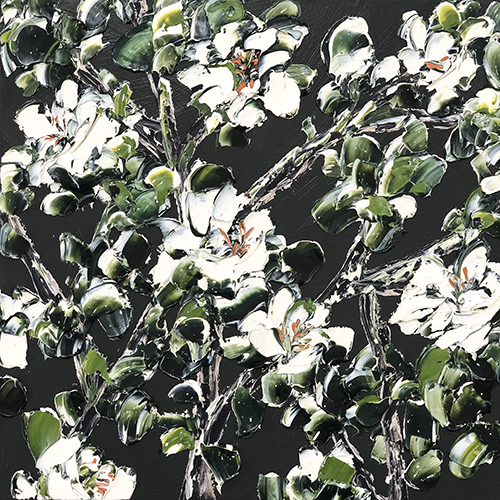 Night 2018   Oil and acrylic on canvas  73 x 73 cm  Framed in black Australian oak  $2,630 AUD  SOLD
