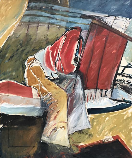 Just Resting 1976/2016   Oil on linen prepared with rabbit skin glue  171 x 201 cm  Framed in black Australian oak  $13,000 AUD  Location: Cheltenham